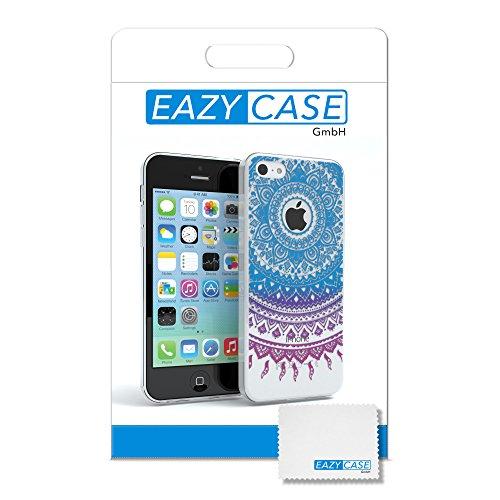 """Apple iPhone 5C Hülle, EAZY CASE Cover """"Henna"""" - Premium Handyhülle mit Indischer Sonne - Transparente Schutzhülle in Weiß / Grün Transparent Blau / Pink"""