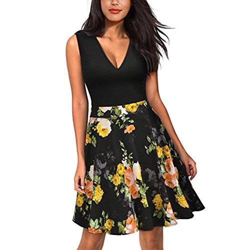 Vovotrade Femmes V col Vintage Robe Floral Imprimé Fête Mini Robe Sans Manches Jaune