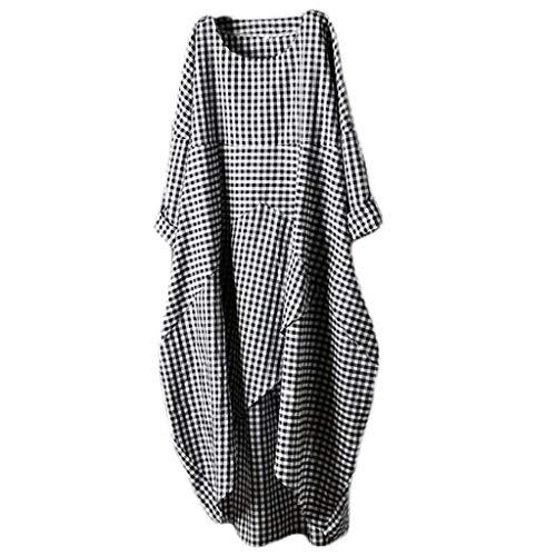 Sommerkleider Damen Sommer Maxikleid Casual Lose Basic T Shirt Kleid Kurzarm Elegant Blusen Kleider Plaid Blumenkleids Unregelmäßiger Rand Plus Größe Strandkleid (M/EU:38, Grau) (T-shirt Plaid)