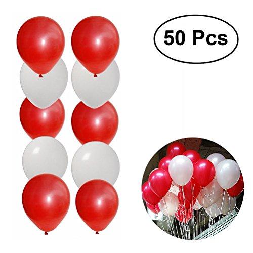 TOYMYTOY 50pcs globos nacarados gruesos redondos decoración de globos de fiesta de látex (rojo + blanco)