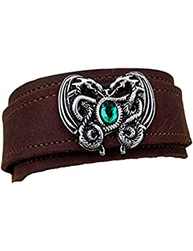 Wikel Lederarmband Dragonheart mit grünem Swarovski-Kristal Leder Farbe dunkel braun