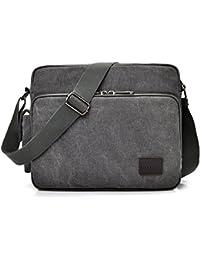 MeCool sac à bandoulière en toile pour homme rétro sac messenger petite poche pour sac d'école toile sac de loisirs sac de plage favorables vendredi sacs à main noir marron