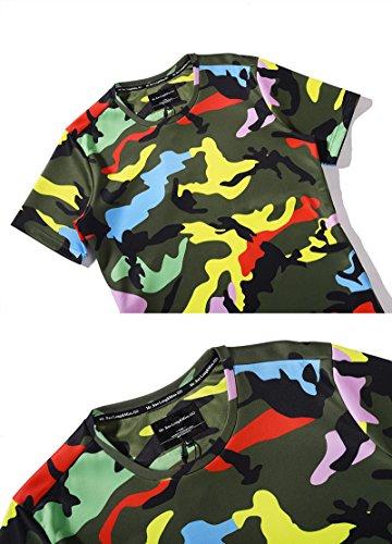 Yonbii 2017 Neue stilvolle Camouflage Männer 3D O-Ausschnitt Seitentasche T-Shirt Casual Top Kragen Grau