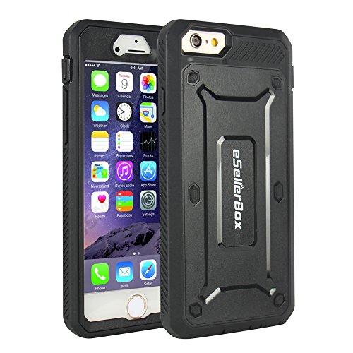 eSellerBox Coque de protection arrière et avant robuste et rigide pour iPhone 6/6s Antichoc/anti-rayures, plastique, noir, iPhone 6/6S noir