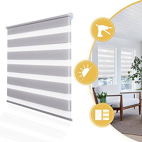 Doppelrollo Klemmfix onhe Bohren Duo Rollo 80 x 150 cm Grau, Fensterrollo für Fenster und Tür, lichtdurchlässig und verdunkelnd