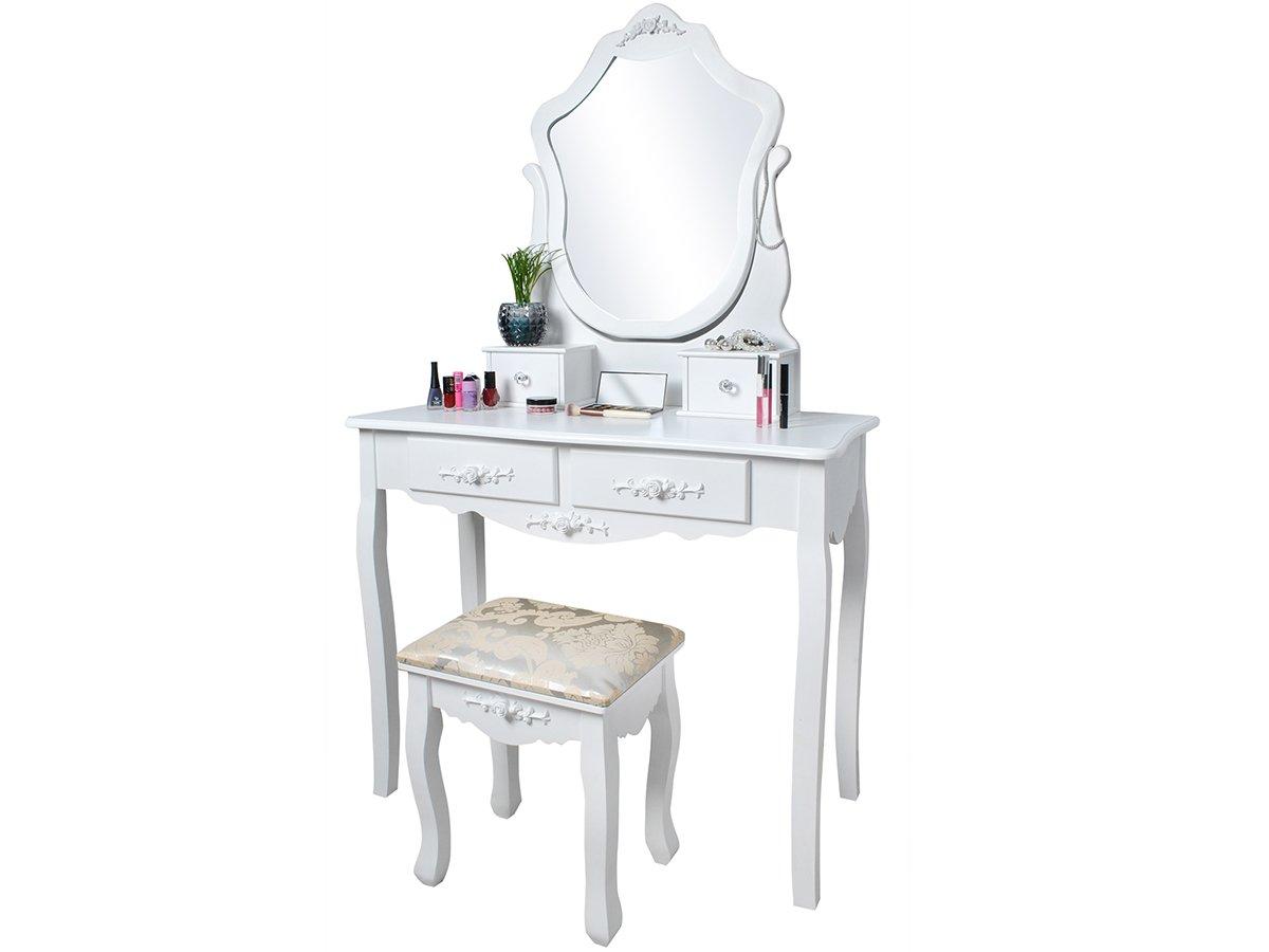 Malatec elegante specchiera con specchio sgabello shabby chic