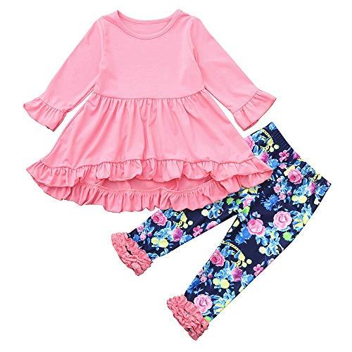 Oyedens Langarm-Kleid für Kinder + Unregelmäßige Blumenhosen Zweiteiliges Mädchen Plissee-Top-Hosen-Set 2 Stücke Lange ärmel Falten Kleid Floral Hosen Set Outfit (1-4T