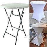Partytisch mit Husse Bistrotisch Stehtisch Klapptisch Biertisch weiß Ø 80cm/Höhe ca.110 cm klappbar Baumarktplus