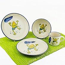 Kindergeschirr Set mit Namen 4-teilig Frosch springend Tasse Teller Eierbecher