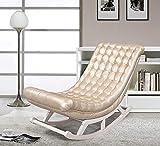 SEEKSUNG Liegestuhl, Massivholz Schaukelstuhl für ältere Menschen, faul Balkon Sofa, einzelner Stuhl, geeignet für Napping, 130 * dick 15CM, Leder Champagner