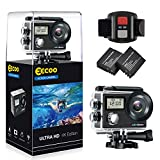 Action Cam 4K 1080P Ultra WiFi Full HD, Sport Action Camera con Dual Screen Telecomando 170° Grandangolare due 1050mAh Batterie con Custodia Impermeabile e Kit di Accessori