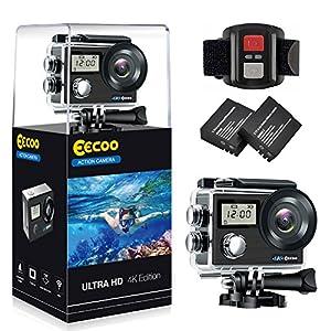 Action Kamera WIFI sports cam 4K 1080P HD 20MP Doppelschirm Kamera Unterwasserkamera Helmkamera Ultra-Weitwinkel, Wasserdicht, mit Montage Zubehör Kit für Radfahren Schwimmen Klettern Tauchen
