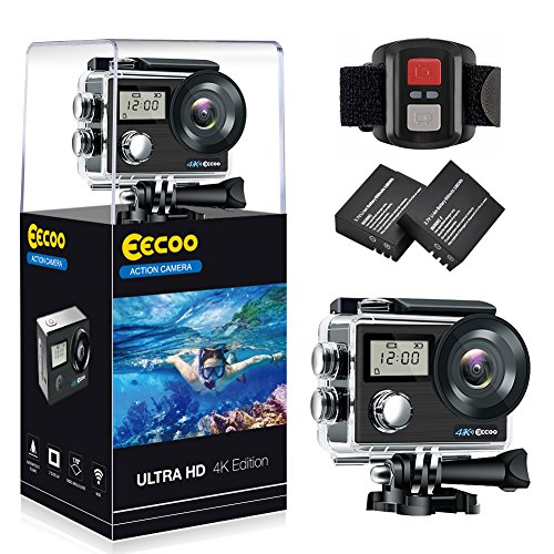 Galleria fotografica Action Cam 4K 1080P Ultra WiFi Full HD, Sport Action Camera con Dual Screen Telecomando 170° Grandangolare due 1050mAh Batterie con Custodia Impermeabile e Kit di Accessori