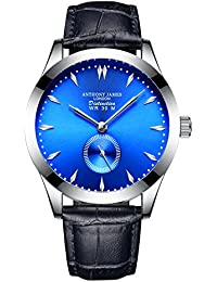 ANTHONY JAMES OF LONDON DISTINCTION Stylish Designer Blue Men's Luxury Dress Watch With Genuine Leather Strap For Men, Silver Durable Case With 5 Year Warranty, 90 Day Returns, Clearance Sale
