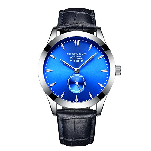 Neue Limited Edition Anthony James Blue Distinction Lederband Herren Quarz Armbanduhr