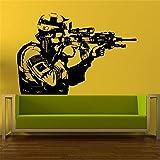 xingbuxin Adesivi murali Adesivo in Vinile Soldato Uomo Sniper Decorazioni per la casa Adesivo Rimovibile Design Moderno Soggiorno Adesivi per Ragazzo Neri 58 X 40 CM