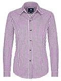 ALMBOCK Trachtenbluse Damen langarm | Karierte Bluse flieder violett lila kariert aus 100% Baumwolle | Festliche Blusen in Größe 34-46