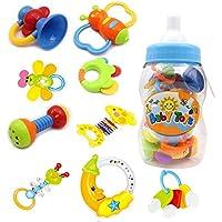 Baby Rassel und Beißring Spielzeug - 9 Stück Bunte Teether Spielzeug mit Giant Baby Flasche Münze Bank Geschenk Sets