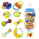 Baby Rassel und Teether Spielzeug - 9 Stück Bunte Teether Spielzeug mit Giant Baby Flasche Münze Bank Geschenk Sets