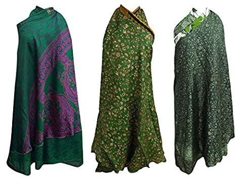 Reversible Reine Seide Vintage Saree Wrap Magischer Hippie Schatten von Grün 3 Stück (Hippie Vintage-wrap)