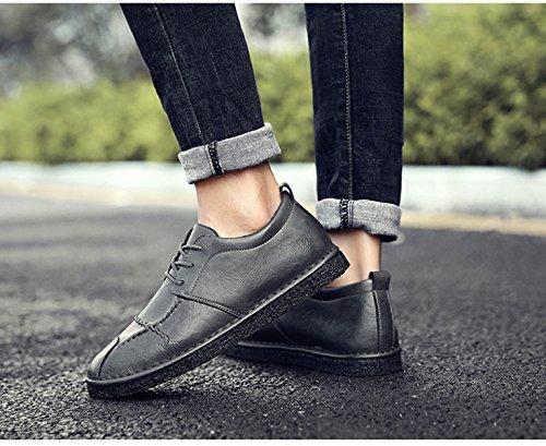 2018 Nouveau Printemps Hommes En Cuir Marron Branché Mode Hommes Casual Chaussures Derby Oxford Chaussures Grey
