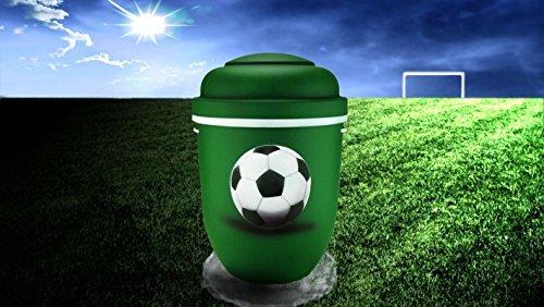 Biologisch abbaubar Verbrennung Asche Urne–Erwachsene Größe–Fußball Design–Grün & Weiß