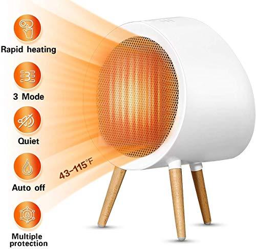 Calefactor eléctrico de 2000 W, con 3 modos, portátil, apagado automático, con termostato, protección...