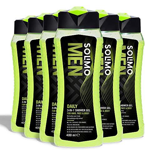 Marca Amazon - Solimo Gel de ducha diario para hombre 3 en 1 (Cuerpo, cara y cabello)- Paquete de 6 (6 Botellas x 400 ml)