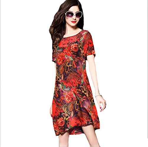 hippolo 2017Sommer neue Damen Loose Looks Slim Short Sleeve aus Seide Seide Kleid aus Chiffon XL rot -