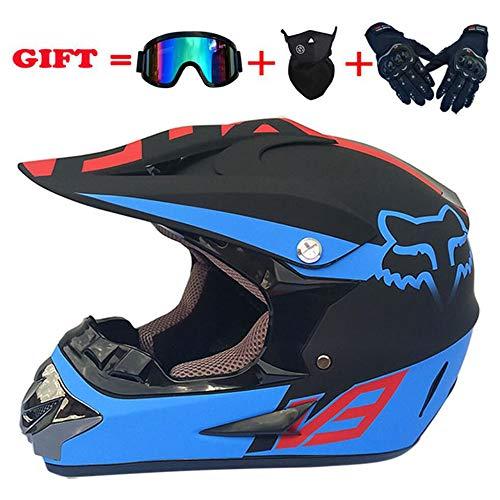 YuCar Motorrad Motocross Helme Motorradhelme für Erwachsene, Windschutzmaske, Handschuhe, SCHUTZBRILLE D.O.T Standard Kinder Quad Bike ATV Go-Kart-Helm (S, M, L, XL),G,S