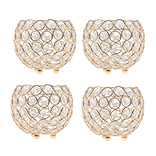 Fenteer Kerzenhalter Gold Hochzeit Teelichthalter Kerzengläser Wohnzimmer Dekoration Crystal Votive