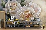 Yosot Moderne 3D Tapete Home Innendekoration Tapete Elegant Retro Vintage White Rose Handgemalte Hintergrund Wall 3D Tapete-300cmx210cm