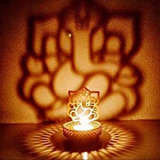 BrassLine Metal Shadow Ganesh Ji Tea Light Candle Holder, 3x3x4-inch(Gold)