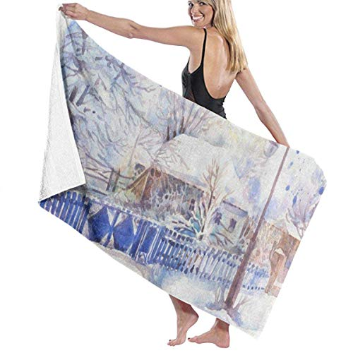 xcvgcxcvasda Serviette de bain, Winter Forest Tree House Watercolor Personalized Custom Women Men Quick Dry Lightweight Beach & Bath Blanket Great for Beach Trips, Pool, Swimming and Camping 31