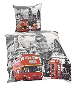 "Global Labels G 82 600 LON1 140 ""London"" Wendebettwäsche, Renforce, 135 x 200 cm und 80 x 80 cm"