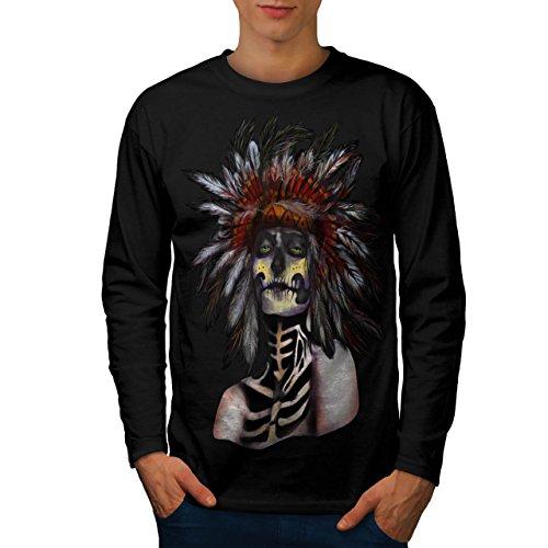 indisch Zucker Tod Schädel Kämpfer Männer XL Langarm T-Shirt | Wellcoda (Liebe Kämpfer-t-shirt)