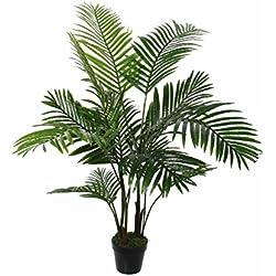 MICA Decorations 1026426Areca–Palmera en Maceta Verde–H120x d60cm Planta Artificial, Goma, Verde, 60x 60x 120cm