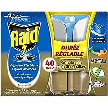 Raid difusor eléctrico líquido, 1 recarga, mosquitos y mosquitos tigres, duración y intensidad