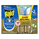 Raid difusor eléctrico líquido, 1recarga, mosquitos y mosquitos tigres, duración y intensidad regulables, 40noches, insecticida, Advanced