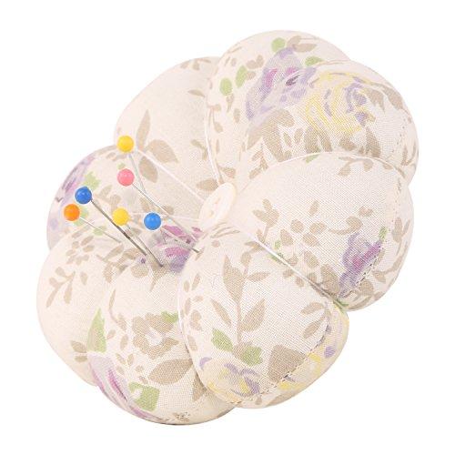 Neoviva tessuto con puntaspilli con fascia da polso per cucito, stile: zucca floral cloud cream