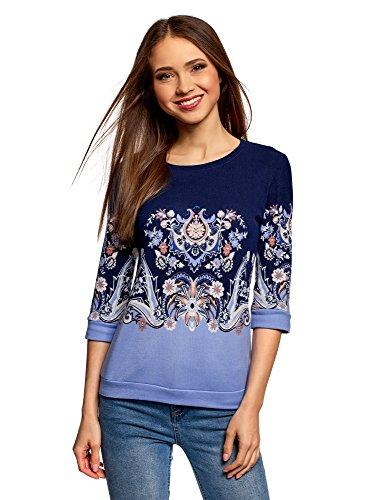 oodji Ultra Damen Sweatshirt mit Druck und 3/4-Ärmeln, Blau, DE 38 / EU 40 / M (Vintage Rock Paisley)