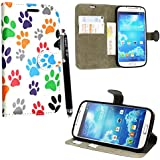 Kamal Star® Samsung Galaxy S4 mini i9190 Multi Dog Cat pow Foot Book PU Leather Cuero con Tarjeta de Crédito Slots Funda Wallet Carcasa Cover + Stylus