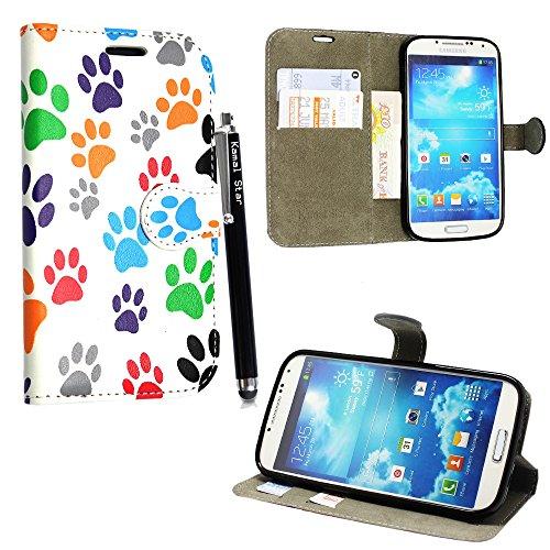 Kamal Star® Samsung Galaxy S4 mini i9190 Multi Dog Cat pow Foot Book PU Leather Cuero con Tarjeta de Crédito Slots Funda Wallet Carcasa Cover +