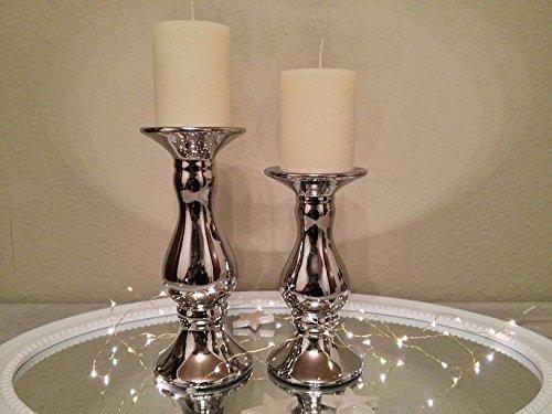 Keramik Kerzenleuchter Kerzenständer Silber Weiß Windlicht Kerzenhalter Ständer (Silber / Rund / 2er-Sparset)