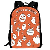 BagMothe Halloween Ghost Pumpkin Candy Cross Tombstone School Backpack Polyester Bookbag Student Fashion Bags for Boys Girls