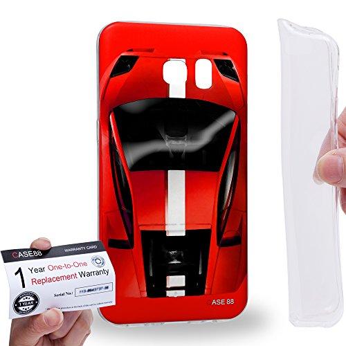 Case88 [Samsung Galaxy S7 Edge] Gel TPU Hülle / Schutzhülle & Garantiekarte - Art Design Red Sport Car Art1302