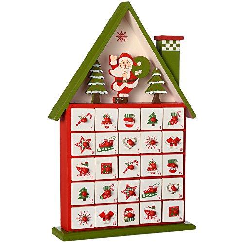 WeRChristmas Weihnachtsdekoration Advent Kalender Holzhaus, Mehrfarbig, 37cm
