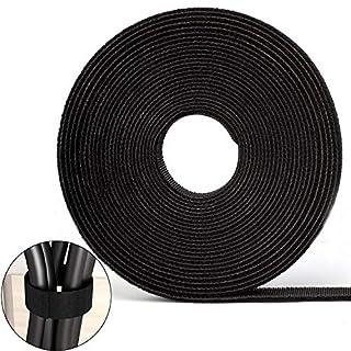 FEIGO Klett Kabelbinder Klettband 10M Doppelseitiges Klettband Selbstklebend Klettverschluss schneidbar Kabelschlauch für Kabel (Kabelmanager)