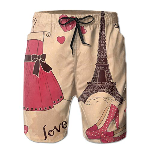 jiger Mens Beach Shorts Swim Trunks,Paris Boutique French Retro Dress Shoes Eiffel Tower,Summer Cool Quick Dry Board Shorts Bathing SuitM