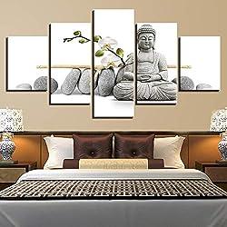 FDD5P Cuadros en Lienzo,Estatua de Buda Zen,Painting Pinturas murales Decoración Impresiones Home Sala de Estar Cocina Dormitorio,5 Partes/Sin Marco
